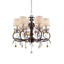 bronze and crystal ceiling lamp with clip on bell