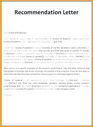 Free Letter Of Recommendation Template For College Letter Of Recommendation Template For High School Student