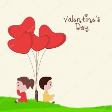kids valentines day background. Interesting Kids Cute Kids Thinking About Valentineu0027s Day With Heart Shape Balloons On  Nature View Background U2014 Vector By Alliesinteract Inside Kids Valentines Background I