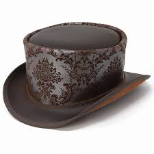 elehelm hat leather hat stylish high quality hat of superior grade brown silver top hat man hat present gift made in the top hat leather
