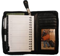 inside of black zippered leather planner organizers