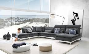 modern leather sectional sofas. David Ferrari Horizon Modern Grey Fabric \u0026 Leather Sectional Sofa Sofas