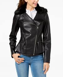 i n c faux fur trim peplum moto jacket created for macy s inc international concepts
