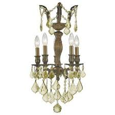 versailles 5 light antique bronze chandelier with golden teak crystal