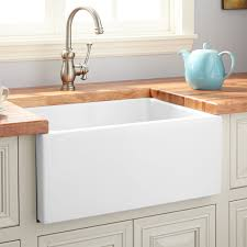24 adams fireclay reversible farmhouse sink smooth a white