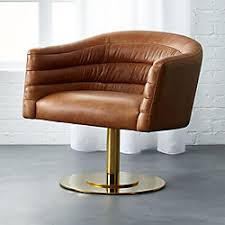 Modern leather armchair 2nd Hand Cupa Saddle Leather Swivel Base Chair Cb2 Modern Accent Chairs And Armchairs Cb2
