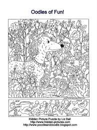 Small Picture Hidden Picture Puzzle and Coloring Page Featuring a POODLE