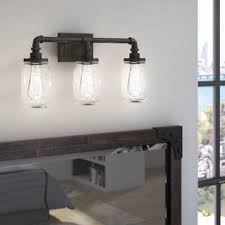 vanity lighting for bathroom. Wonderful Lighting Brys Rustic Black 3Light Vanity Light Throughout Lighting For Bathroom