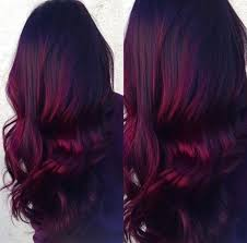 Red Velvet Balayage Dark Roots With Vibrant Burgundy Ends Done By