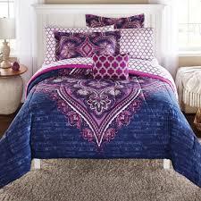 Mainstays Grace Medallion Purple Bed in a Bag plete Bedding Set