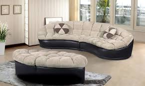 ufe 4292 4 pc chantilly papasan beige chenille and black faux leather sectional with ottomans