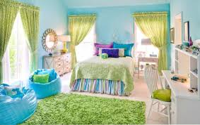 blue wall themes with green curtains plus blue sheet on striped ...