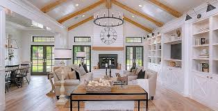 dramatic modern farmhouse with stunning white and black interior