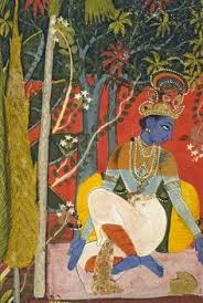 krsna in the forest detail the black bees in search of flowers are symbolic