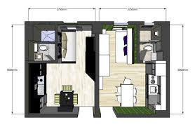 Apartments Clever Architecture Floor Plan Design Of Two 40 Square Classy Apartments Floor Plans Design Style