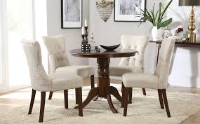 gallery kingston round dark wood dining table with 4 bewley oatmeal chairs