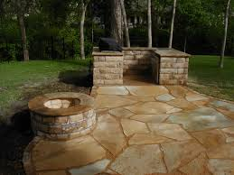 loose flagstone patio. River Rock Patio | Looselaid Flagstone With Bbq And Firepit Loose