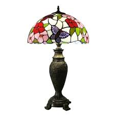 erfly table lamp tiffany style stained glass 16 w 3 light table light in antique brass finish