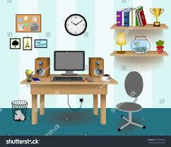 retro office decor. Computer Desk Decor, Colorful Retro Creative Office Work Space With Pc. Wall Blue Decor