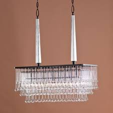 modern hanging rectangular chandelier with bronze frame and hanging crystal for bedroom lighting decoration ideas