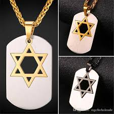 u7 star of david dog tag pendant necklace stainless steel gold plated necklace for men women jewish jewelry magen david pendant gift gp2452 uk 2019 from