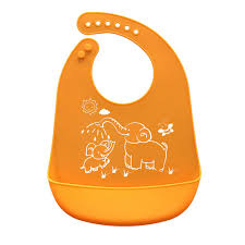 <b>Cartoon Prints Kids Silicone</b> Bib Adjustable Waterproof Baby ...