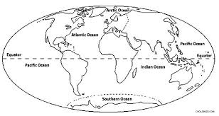 Small Picture Map Of The Earth Coloring Page Oceans Of The World Map Coloring