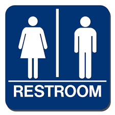 Lynch Sign 8 in. x 8 in. Blue Plastic with Braille Restroom Sign-UNI-18 - The Home Depot