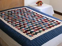 Tumbling Blocks Quilt -- marvelous carefully made Amish Quilts ... & Twin-size Blue and Multi Tumbling Block Quilt Photo 1 ... Adamdwight.com