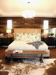 Modern Country Bedroom Modern Country Bedroom Idea With Natural Wood Plank Wall Also Pelt