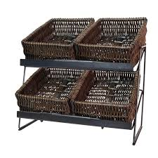 two tier countertop display unit 2 brown wicker trays