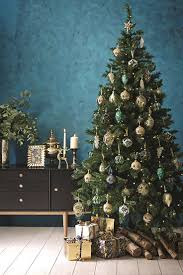 Christmas tree decorations in green, blue and gold on a tree