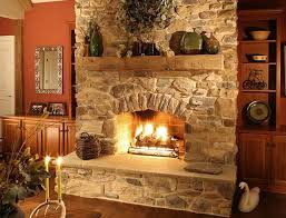 Stone Fireplace Surround For a Rustic, Country-Inn Look