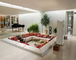 Attractive Living Room Design Ideas for Basement with Unique Modern Table  and Corner Sofa Also Using