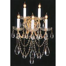 maria theresa gold five light crystal sconce