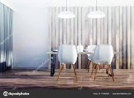 Weiß Und Holz Weißen Esszimmerstühle Getönt Stockfoto