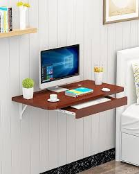 portable table laptop table simple office wall mounted computer desk furniture brown