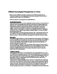 the essay will begin by looking at what nor ty and social different sociological perspectives on crime