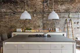 fabulous industrial kitchen brick wall