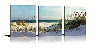 YPY Seascape Wall Art Green Canvas Painting Reed on <b>Beach</b> ...