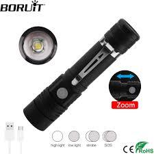 BORUiT C6 Đèn LED Cao Cấp XM L T6 Đèn Pin 4 Chế Độ Zoom Đèn Lồng Pin Sạc  18650 Săn Bắn Đèn 1000lm Xe Đạp ánh sáng zoom torch