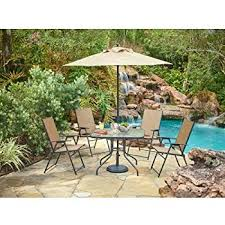 Outdoor dining sets with umbrella Garden Oasis Patio Outdoor 6piece Folding Patio Dining Furniture Set With Umbrella Seats Bed Bath Beyond Amazoncom Outdoor 6piece Folding Patio Dining Furniture Set With