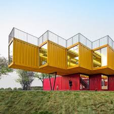... Stacked shipping containers form temporary pavilion by People's  Architecture Office