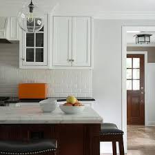 subway tile backsplash with cherry cabinets.  With White KItchen With Cherry Center Island To Subway Tile Backsplash With Cabinets Y