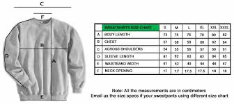 Sweatshirts Size Guide Personalized Sweatshirts Teetick