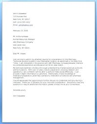 Pharmacy Cover Letter Examples Pharmacy Technician Cover Letter With Experience For