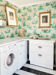 Decorations:Awesome Small Laundry Room With Artistic Green Pattern Wallpaper  Design Idea Awesome Laundry Room