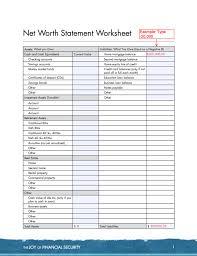 Net Worth Of Business Net Worth Statement Worksheet