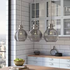 how to choose kitchen lighting. 3 Light Kitchen Island Pendant Contemporary Chic Style Smoky Glass Edison Bulb Retro How To Choose Lighting