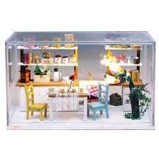 miniature doll furniture. dream kitchen wooden doll house miniature diy assemble dollhouse furniture houses with led lights o
